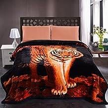 "JML 10 Pounds Heavy Plush Soft Blankets for Winter, Korean Style Mink Velvet Fleece Blanket – 2 Ply A&B Printed Raschel Bed Blanket King Size 85"" x 93"" (Tigers)"