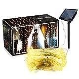 Curtain Lights,8 modes AGPTEK 9.8ft x 9.8ft Solar String Lights for Wedding/Party Backdrops - FULL Waterproof & UL Safety Standard - Warm White
