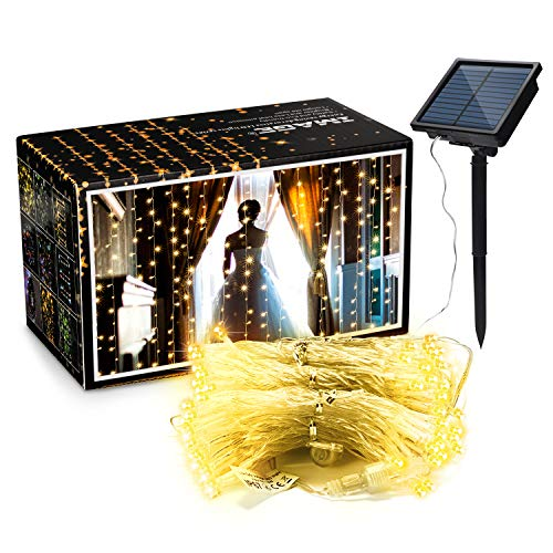 Curtain Lights, AGPTEK 9.8ft x 9.8ft Solar String Lights for Christmas/Halloween/Wedding/Party Backdrops - FULL Waterproof & UL Safety Standard - Warm White
