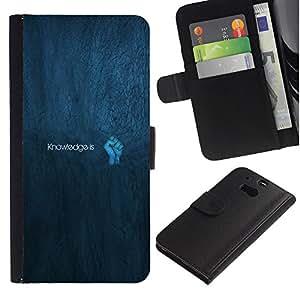 JackGot ( Konwledge Is Power ) HTC One M8 la tarjeta de Crédito Slots PU Funda de cuero Monedero caso cubierta de piel