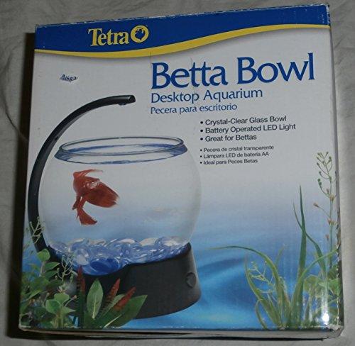 Betta Bowl Desktop Aquarium- Crystal Clear Glass Bowl, Battery Operated Led Light