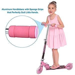 Trottinette Eloklem pour enfants avec roues lumineuses LED et 3 niveaux réglables en hauteur à partir de 3 ans
