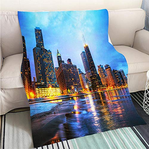 BEICICI Luxury Super Soft Blanket Downtown Chicago IL at Sunset Sofa Bed or Bed 3D Printing Cool Quilt
