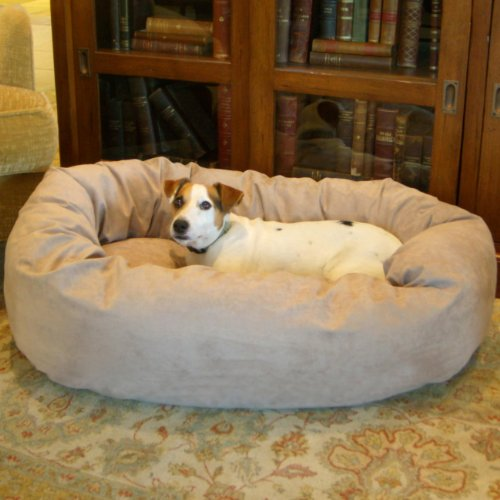 Majestic Pet Large 40″ Bagel Dog Pet Bed MicroSuede – Stone, My Pet Supplies