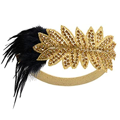 PrettyGuide Women's 1920s Headpiece Retro Bead Feather Gatsby Crystal Headband