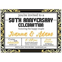 black and gold 50th wedding anniversary party invitations any year - 50th Anniversary Party Invitations
