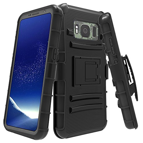 Galaxy S8 Active Case, LK [Heavy Duty] Black Armor Holster Defender Full Body Protective Hybrid Case Cover with Belt Clip for Samsung Galaxy S8 Active
