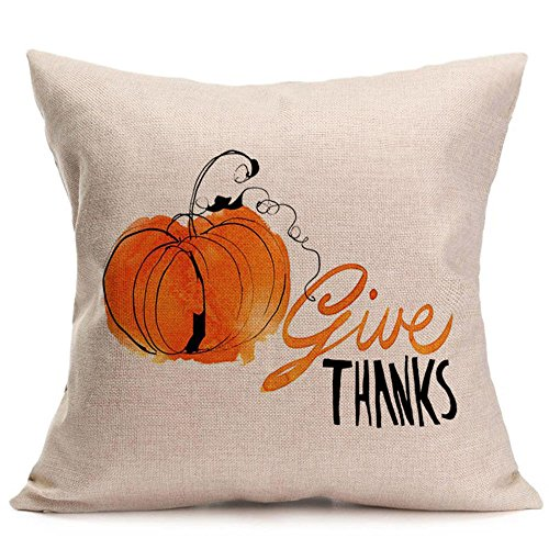 iYBUIA Linen Happy Fall Thanksgiving Day Soft Pillow Case Cushion Cover Home Decor ()