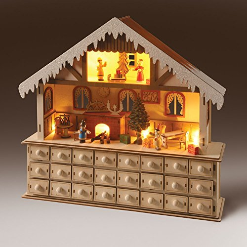 (WHAT ON EARTH LED Lighted Santa's Workshop Wooden Advent Calendar - 24 Opening)