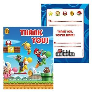 Super Mario Bros Wii Party Gracias Tarjetas (paquete de 6)