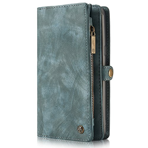 Samsung Galaxy S8 Plus Leather wallet Phone Case Magnetic Detachable Case with Card Slots Cash Compartment Blue