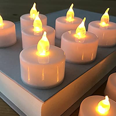 Deluxe Flameless Realistic, Flickering, Battery Powered LED Tealights (12), Fake Candles, in Soft White for Weddings, Holidays, by Voflen
