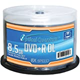 Optical Quantum OQDPRDL08WIP-H 8 X 8.5GB DVD+R DL White Inkjet Printable Double Layer Recordable Blank Media, 50-Disc Spindle