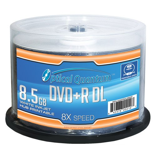 Optical Quantum OQDPRDL08WIP-H 8 X 8.5GB DVD+R DL White Inkjet Printable Double Layer Recordable Blank Media , 50-Disc - Layer Inkjet