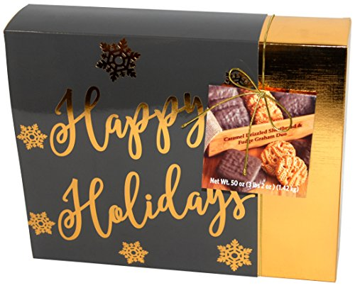 Caramel Drizzled Shortbread & Fudge Graham Duo - 50 oz (Gray Gift Box