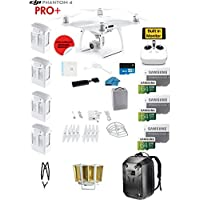 DJI Phantom 4 PRO Plus (Pro+) Drone with 1-inch 20MP 4K Camera KIT With Monitor + 4 Total DJI Batteries + 3 64GB SDXC Cards + Reader + Prop Guards + Range Extender + Harness + Charging Hub + Backpack