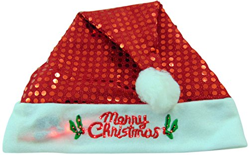 Celebration Sequin Hat (Christmas Holiday Sequin Flashing Light Up Santa Party Hat, Styles May Vary, Red, 1 Pack, Size Small, 15