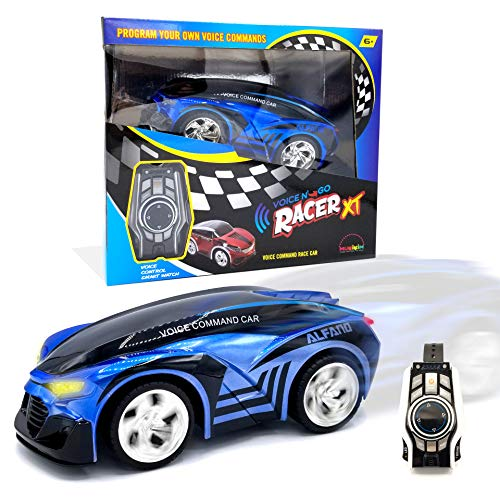 MukikiM Voice N' Go Racer Xt - Blue. Voice Controlled Race Car (Customizable) & Watch Controller. 5 Speed (Turbo) + 12 Color LEDs Options + Engine Sound! 2.4Ghz & USB Rechargeable