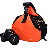 Caden Cross Bag Triangle Carry Case for DSLR Sony Canon Rebel Powershot, Nikon Coolpix,Kodah,Olympus,Pentax,Sony With Tripod Holder(Orange K2)