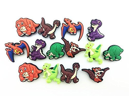 14pcs Time Before Land Dinos / Dinosaurs Shoe Charms for Croc & Wristband - Land Time