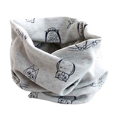 Bestpriceam Cute Owl Print Children Cotton Scarf Kids Winter Warm Neckerchief (Gray)