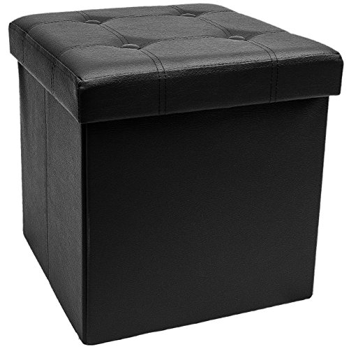 Stool Foot (Sorbus Storage Ottoman – Collapsible/Folding Cube Ottoman with Cover–Perfect Hassock, Foot Stool, Seat, Coffee Table, Storage Chest, and more–Contemporary Faux leather (Black))