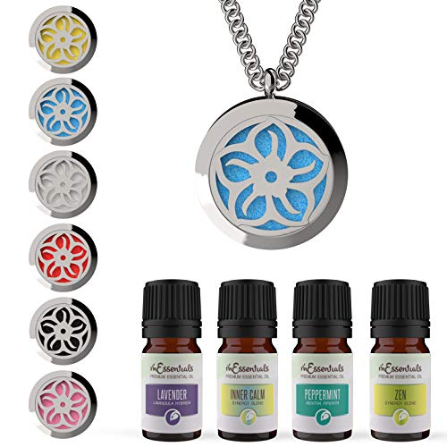 mEssentials Lotus Essential Oil Diffuser Necklace Stainless Steel Locket Pendant with 24 Chain+ 4 Essential Oils (Lavender Peppermint Inner Calm Zen) Gift Set