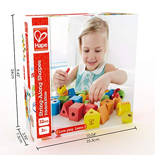 Hape String-Along Shapes | Classic 32 Piece Wooden Block Stacking Game, Multi-Colored Lacing Toy