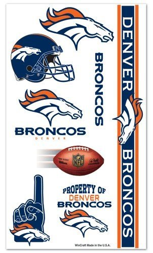 Denver Broncos Temporary Tattoos Easily Removed With Household Rubbing Alcohol Or Baby Oil