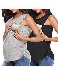 Derssity Women's Nursing Tank Top Sleeveless Comfy Breastfeeding Maternity Clothing