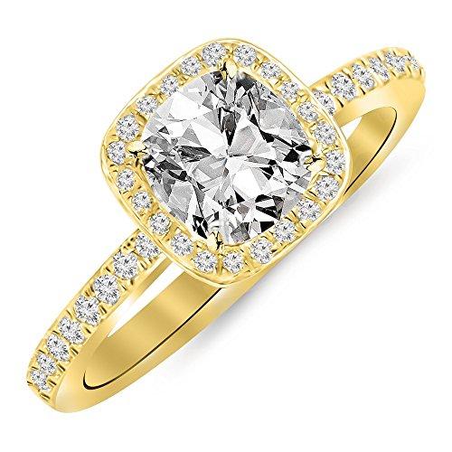 2.25 Ctw 14K Yellow Gold Cushion Halo Diamond Engagement Ring Cushion Cut (2 Ct F Color VS2 Clarity Center Stone)