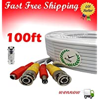 WennoW 100FT Extension BNC Male Cable for Q-see Indoor Outdoor CCTV security camera kit QT474-411