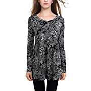 Amazon Lightning Deal 78% claimed: BAISHENGGT Women's Long Sleeve Flared Tunic Shirt Top X-Large T01 Navy