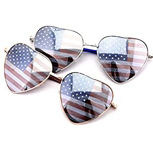 VW Eyewear - Women's Heart Shaped American Flag Cute Sunglasses USA Print (2 pairs - gold and silver)