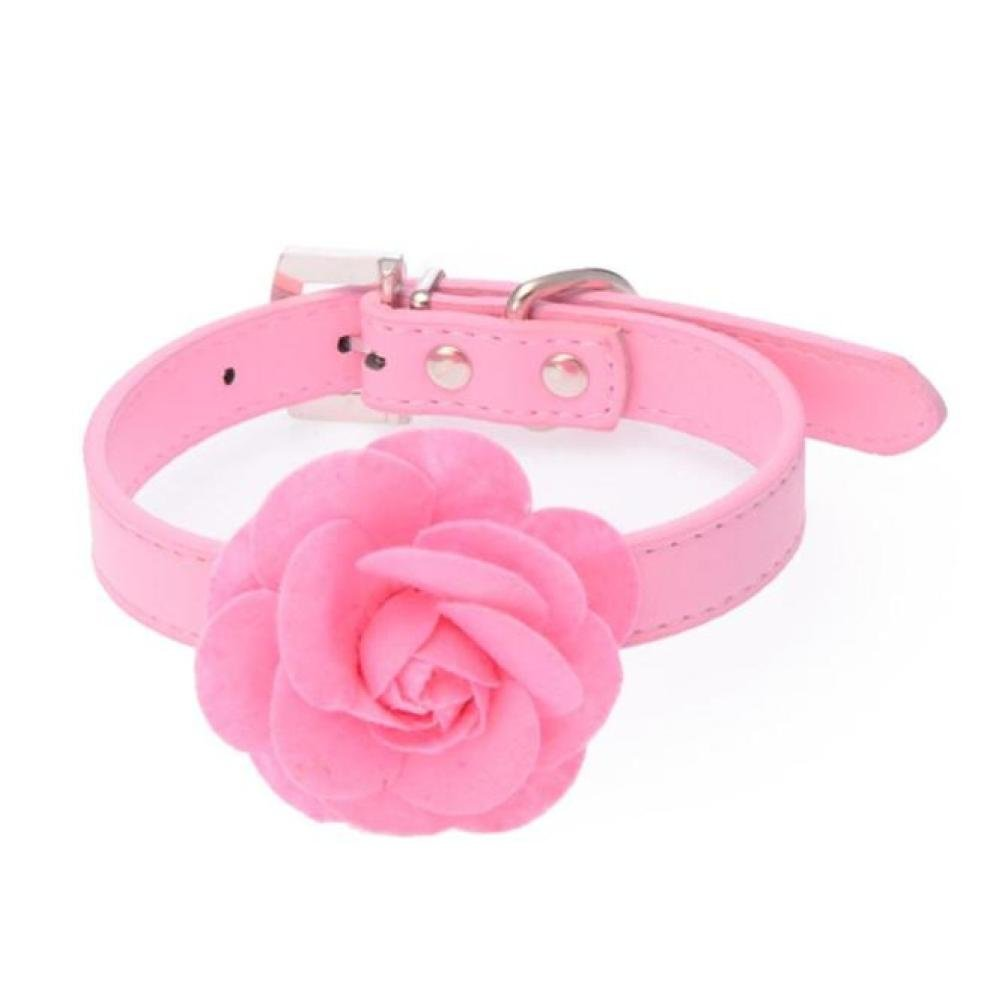 Voberry fashion big flower Leather Dog Collar For Small Or Medium Pet Collar cute (M, Pink)