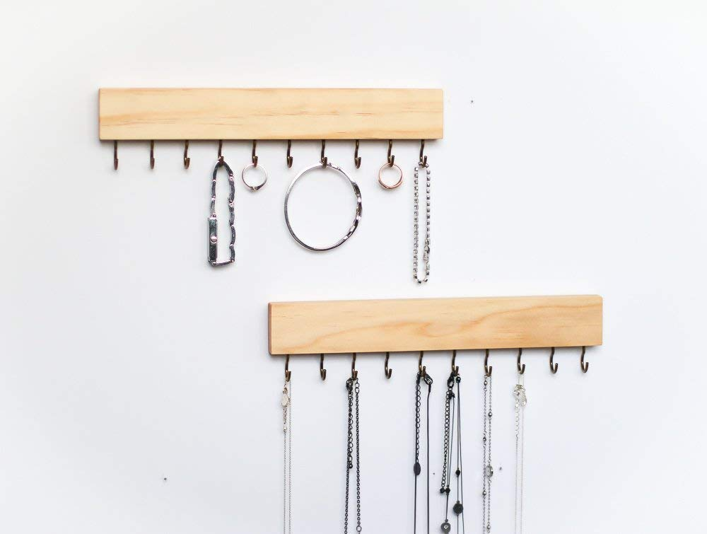 2 SET Pine Wood Wall Jewelry Organizer/Necklace Handmade Holder Hooks Key Holder Hanging Stand Rustic Decor/Best gift idea/natural with 10 bass hooks on bottom