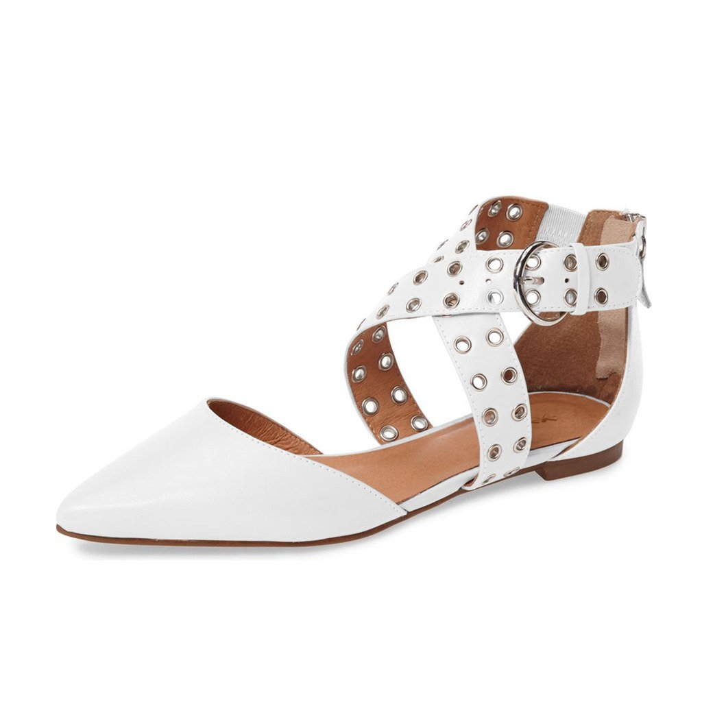 XYD Women Retro Cross Strap Studs Pointed Toe Sandal Flats Low Heel Buckle Dress Shoes B0722X7CB5 9.5 B(M) US|White