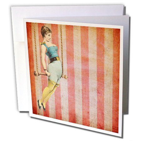 3dRose Cassie Peters Digital Art - Vintage Trapeze Girl - 12 Greeting Cards with envelopes (gc_178080_2) ()