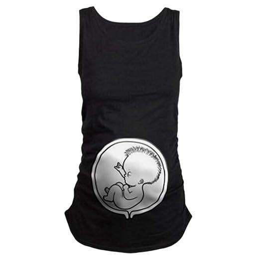 9838701815a8 Matoen Women s Maternity Pregnant Sleeveless Tops Cartoon Pattern Vest  Nursing Baby Vest Clothes Dress Shirt (