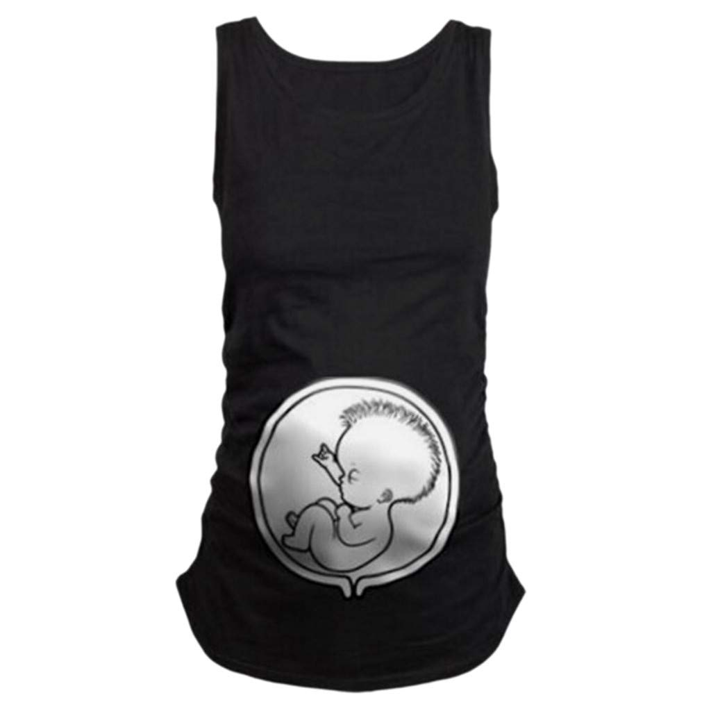 Dsood Casual Pregnant Blouse,Women's Maternity Sleeveless Tops Cartoon Pattern Nursing Baby Vest Clothes,Women's Clothing,White,L