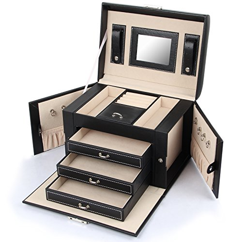 Jewel Cabinet - Homde Jewelry Box Necklace Ring Storage Organizer Synthetic Leather Large Jewel Cabinet Gift Case (Black)