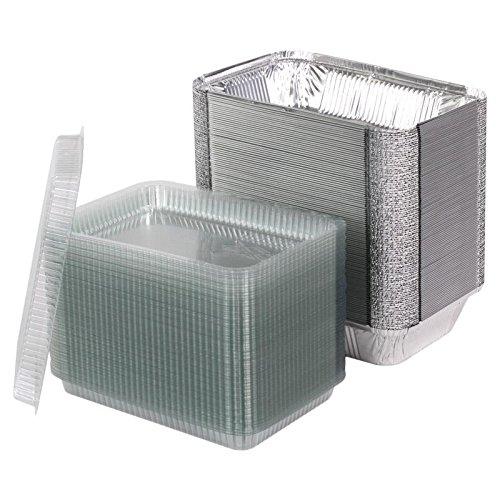 100 bandejas de aluminio con tapa x (PET) modelo