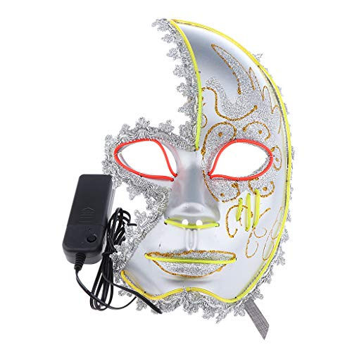 Fenteer Horror EL Wire LED Light Up Half Face Mask Halloween Stage Performer Night Club Disco Cosplay Costume - A, 26 x 16 x 8 -