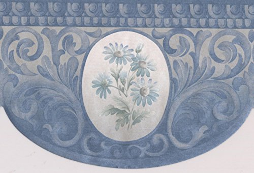 Crown Molding Style Blue Flowers and Vines Victorian Wallpaper Border Traditional Design, Roll 15' x 4.87'' - Victorian Molding
