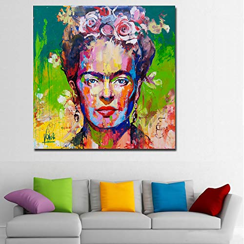 Faicai Art Frida Kahlo Portrait Printings Pop Art Paintings Colorful Wall Art Canvas Prints and Posters Banksy Graffiti Realismus Pictures for Living Room Modern Home Wall Decor Framed 32