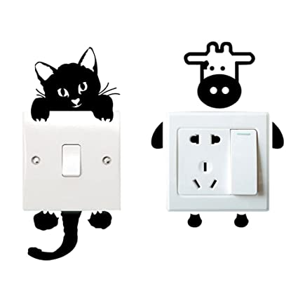 Amazoncom Aszune Light Switch Decals Switch Cat Wall Stickers - Vinyl-decals-to-decorate-light-switches-and-outlets