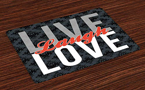 Ambesonne Live Laugh Love Place Mats Set of 4, Different Typed Words of Wisdom Victorian Antique Damask Motifs Tile Print, Washable Fabric Placemats for Dining Table, Standard Size, Grey Red