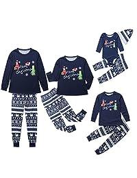 MysterLuna Xmas Family Matching Pajamas Letter Pjs Sleepwear Romper Jumpsuit