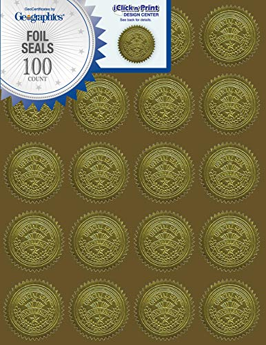 Geographics Gold Embossed Foil Seal, 100 per Pack (20014) - Foil Geographics