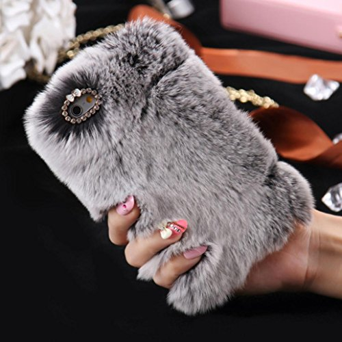 "Price comparison product image Tenworld Fluffy Villi Fur Plush Wool Back Cover Case For iPhone 6/6S Plus 5.5 inch / iPhone 6/6S 4.7 inch (For 6/6S Plus 5.5"", Gray)"